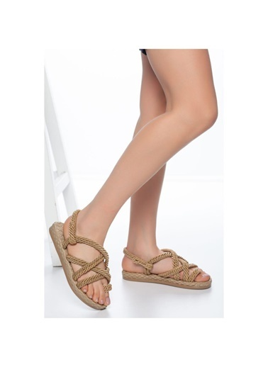 Muggo Hasır Sandalet Krem